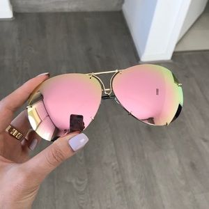 Accessories - Pink Mirrored Oversized Aviator Sunglasses